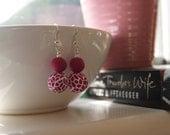 Funky pink & white dangle earrings