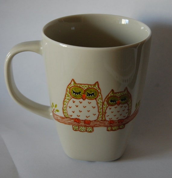 Mug with two owls - Parent and baby owl - NOW ON SALE