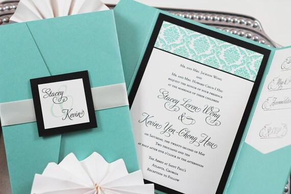 Pocket Folder Wedding Invitation Kits: Items Similar To Damask Pocket Folder Wedding Invitation