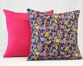 Pillow Set - Decorative Pillow - 18 x 18 - Floral Pattern - Throw Pillow - Pink Cotton Backing - Pillow - Upcycled Pillow