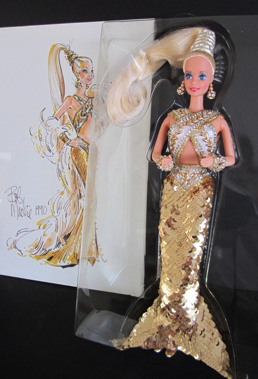 Bob Mackie Gold Barbie Doll 1990 By Auntninascloset On Etsy