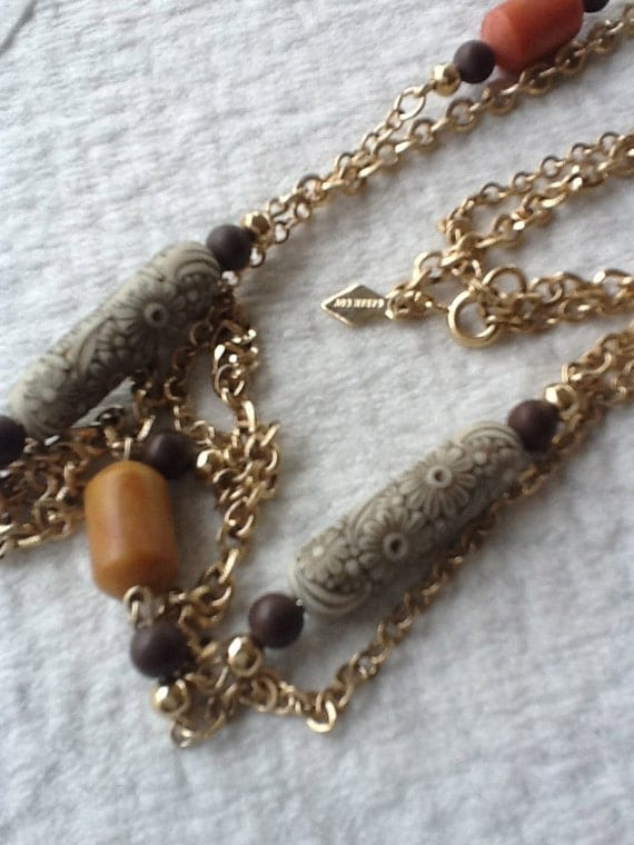 Sarah Coventry Two Strand Necklace...Detailed Beads...Earthtones...Long