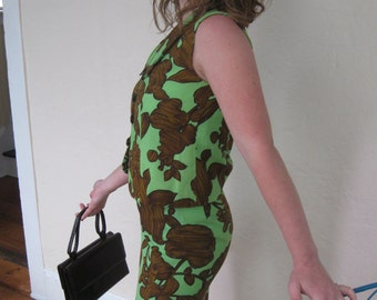 Brown and Green 2pc Wiggle Outfit - 1960's