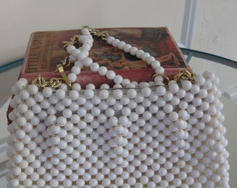 Vintage White Beaded Purse -1960's