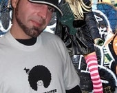 Screen Printed T-Shirt Afro Pic Of The Liter Hippie Universal Kinetic Design Handmade by Civilized Society