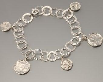 sterling silver link bracelet, silver coin bracelet, hammered silver bracelet, sterling silver bracelet