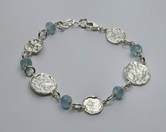 Aquamarine bracelet, Sterling Silver Bracelets,  March birthstone, Gemstone bracelet, Chic Bracelet, Blue Bracelet