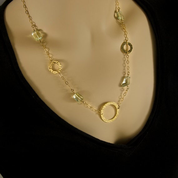 Gold filled -gold filled Necklace Gold Filled Chain with Amethyst and Silver Circle plated 18K gold ,Green Amethyst ston Gemstones handmade