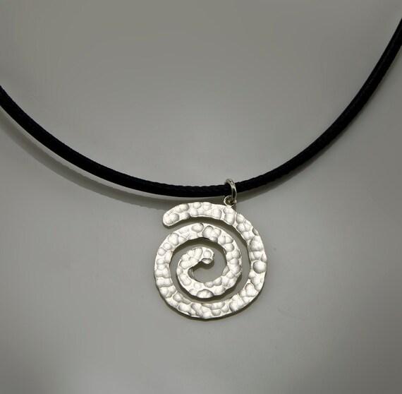 Spirals-Sterling Silver Necklaces  Hammered Spiral Necklaces Spiral Pendant on Black Leather cord