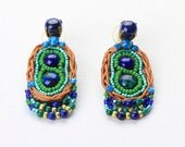 Azurite&Lapis Earrings. Bead Jewelry. Tribal Ethnic Jewelry. Colorful Jewelry
