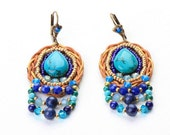 Drop Turquoise  Earrings. Turquoise  Jewelry. Bead Jewelry. Tribal Ethnic Jewelry. Colorful Jewelry