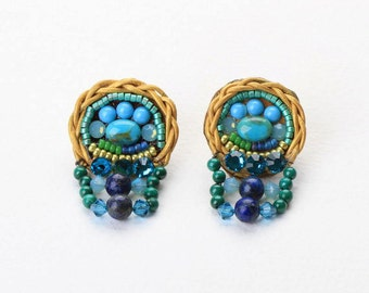 Lapis & Turquoise  Earrings. Turquoise  Jewelry. Lapis Earrings. Bead Jewelry.  Tribal Ethnic Jewelry. Colorful Jewelry