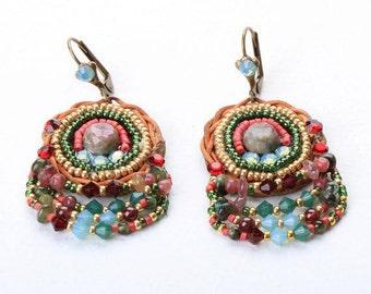 Pink Tourmalin Earrings. Bead Jewelry. Tribal Ethnic Jewelry. Colorful Jewelry