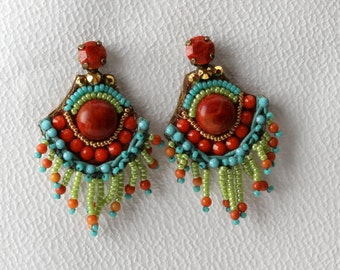 Indian Coral Earrings. Bead Jewelry. Tribal Earrings. Ethnic Jewelry. Colorful Jewelry