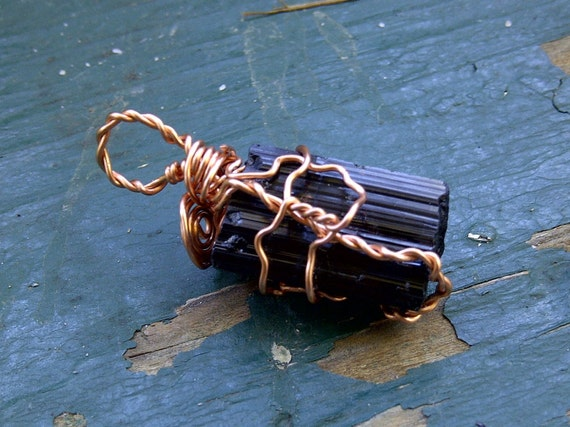 Black Touramaline Copper WIre-Wrapped Pendant