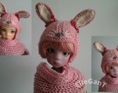 Pink cashmere Bunny hat for Kaye Wiggs bjd