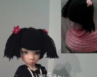 BJD cashmere hat/wigg with pigtales