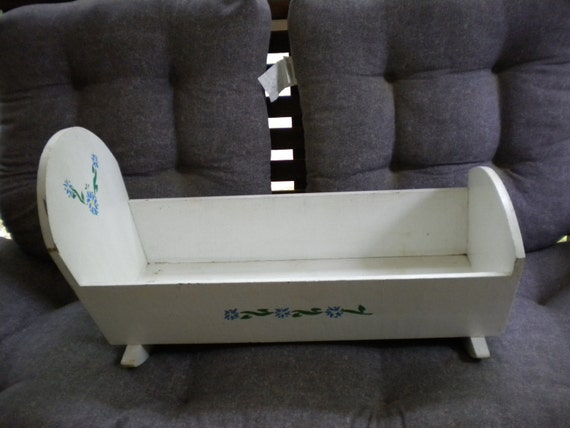 Vintage Doll Cradle handmade with blue flowers painted or stenciled on