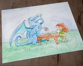 Tea for Dragon 8x10 Print Watercolor Illustration