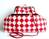 Shoulder Purse Red White Diamonds Printed Fabric Charming Bow