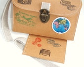 Travel Purse and Tag Kit Globetrotters Dream Fabric Paper Kraft