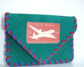 Airmail Envelope Retro Leather Belt Wallet Green Red Blue