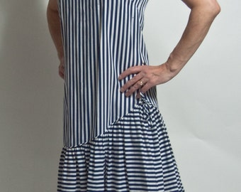 Rhapsody by Glazier blue stripe sundress. 1960s,1970s