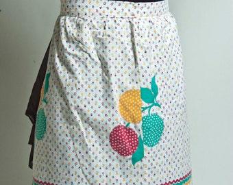 vintage skirt apron, fruit print