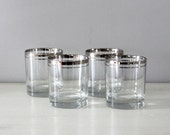 RESERVED------Silver Rimmed Low Ball Glasses
