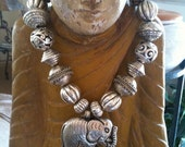 One of a kind beaded necklace with a Silver Elephant Pendant