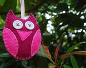 Pink Felt Decorative Hanging Owl