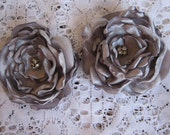 Pewter Satin flowers/pair
