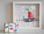 Shabby-chic Seascape - customized wall art - appliquéd and lace; framed