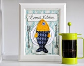 Sold - Personalized Kitchen Art - Appliqued, Framed - 'Food on the Table'