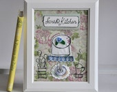 Personalized Kitchen Art - Appliqued, Framed - Bake a Cake - floral print in pink green and blue