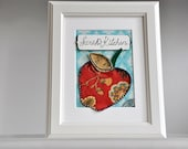 Kitchen Wall Art - Personalized - Framed - Applique Apple