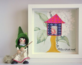 Childrens nursery art - Yellow Brick Road - in floral prints, checks and polka dots