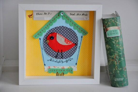 Applique bird house - Quirky, bright wall art