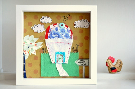 Cupcake House and garden - personalise this appliqué art with a name!