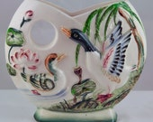 RESERVED for Andrea Vintage Hand Painted Japanese Duck Ceramic Wall Pocket 1940's-1950's