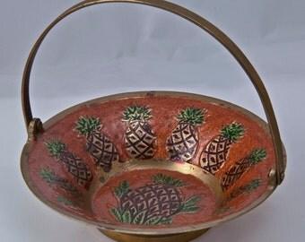 Vintage Enameled Brass Pin/Coin Dish with Handle Holder Bowl Basket Enamel Pineapple Pineapples