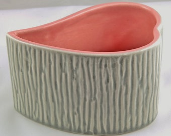 Vintage Red Wing Pottery Candle Holder 32113A Heart Whimsical Antique Collectible Peach Pink Green