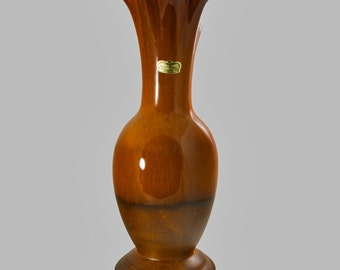 Vintage Royal Haegar Signed Vase Earth Wrap Glaze Mid-Century Style Antique Retro Pottery Ceramic  Honey Brown Gold Coffee Tall