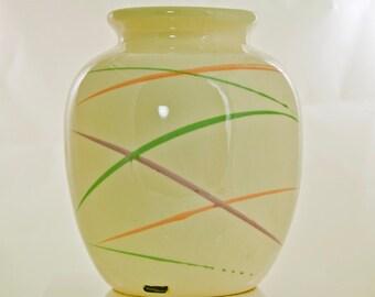 Vintage Mid Century Hand Painted Vohann of California Vase Planter Large White with Pastel Swirls Handpainted Modern Art 1950s