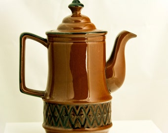 Mid-Century Coffee Pot Tea Pot, Brown and Black with Diamond Pattern Vintage Antique Retro Mid Century 1950s