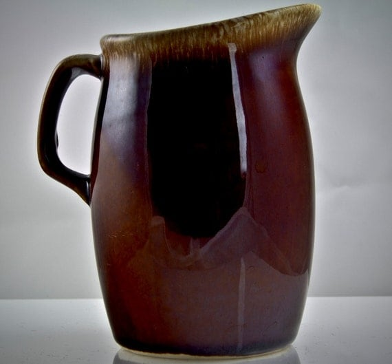 1960- 1970's Hull Cream Pitcher Brown Drip Glaze Cute Collectible Ceramic Pottery Glazed Vintage Antique