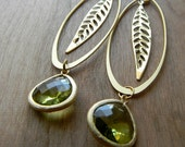 Long Gold Dangle Earrings - Long Matte Gold Dangle Earrings with Gold Leaf and Peridot Green Faceted Drops