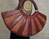 50s Absolutely AMAZING Leather and Straw Bag - Huge and RARE