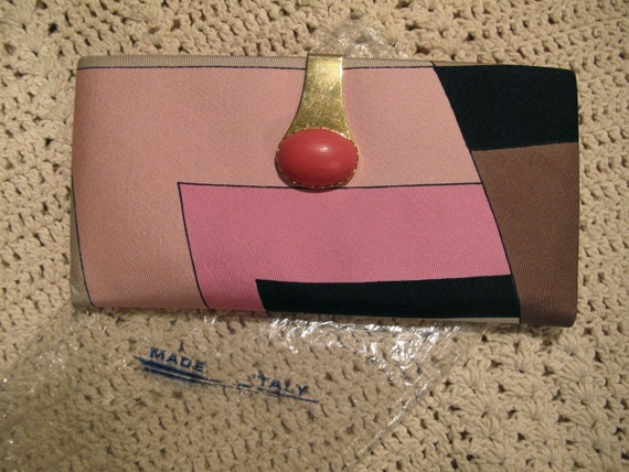 RESERVED FOR KIM - 60s Emilio Pucci Wallet - Hot Pink Silk and Leather- Unused in Plastic