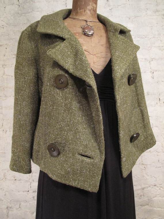 RESERVED - 60s Green Tweed Jacket - New/Old Stock- MInt